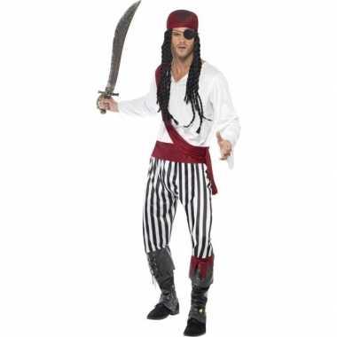 Zwart wit jack sparrow kostuum voor heren