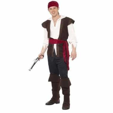 Zwart/wit/rood jack sparrow kostuum voor heren